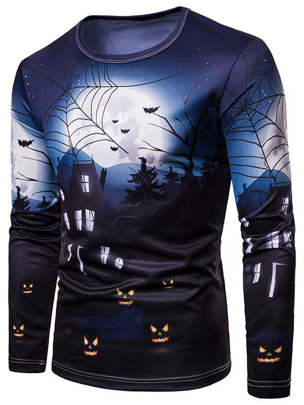 Discount Halloween Village Printed Casual T-shirt