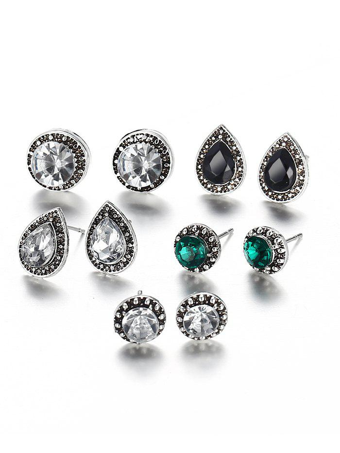 Outfit Faux Gem Inlaid Geometric Stud Earrings Suit