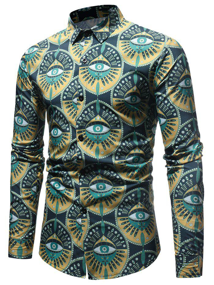 Trendy Eyes Pattern Button Up Shirt
