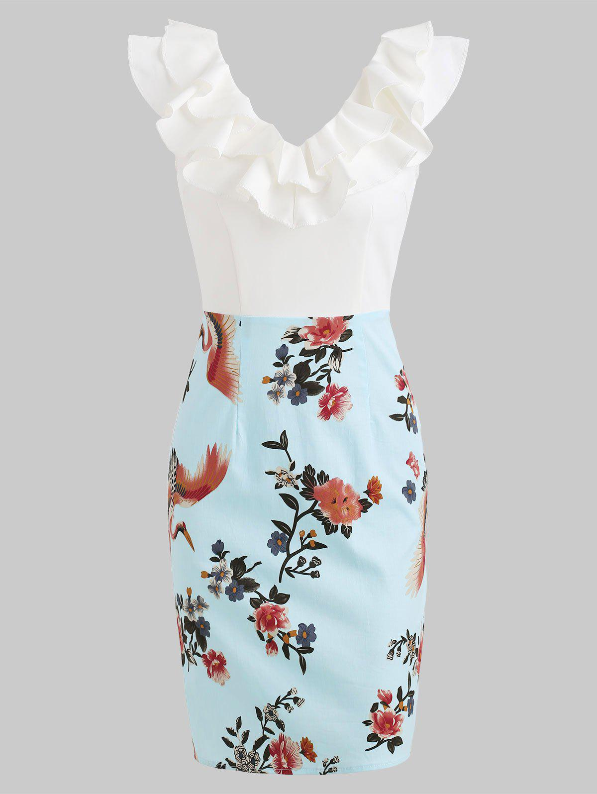Shops Ruffles Trim Floral Print Pencil Dress