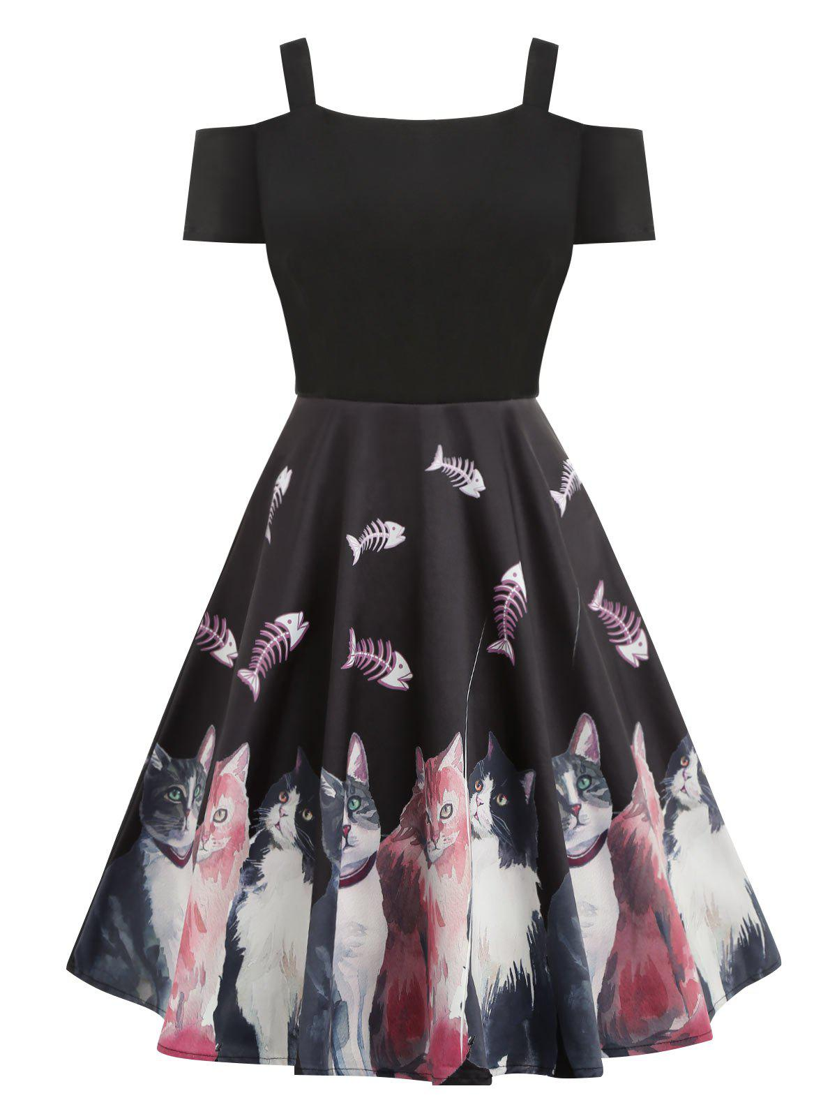 Chic Cold Shoulder Cat Print Pin Up Dress