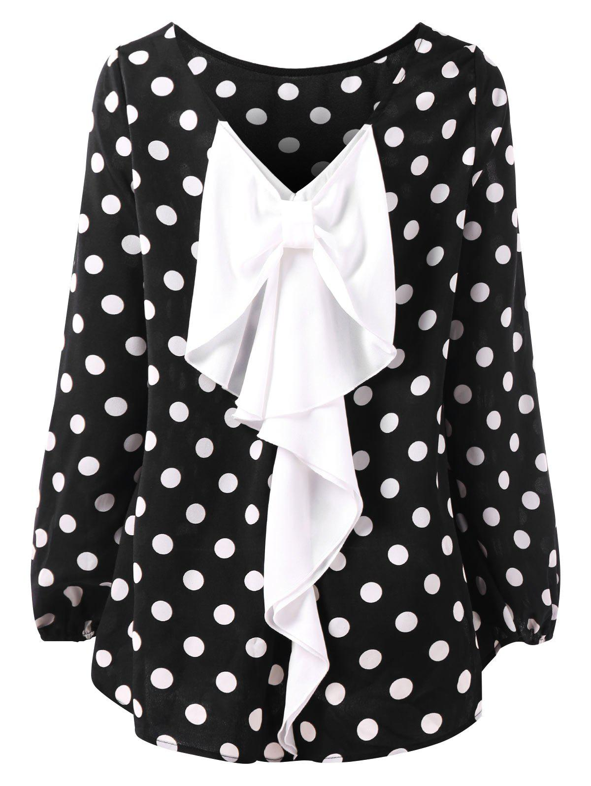 Hot Dotted High Low Contrast Bowknot Blouse