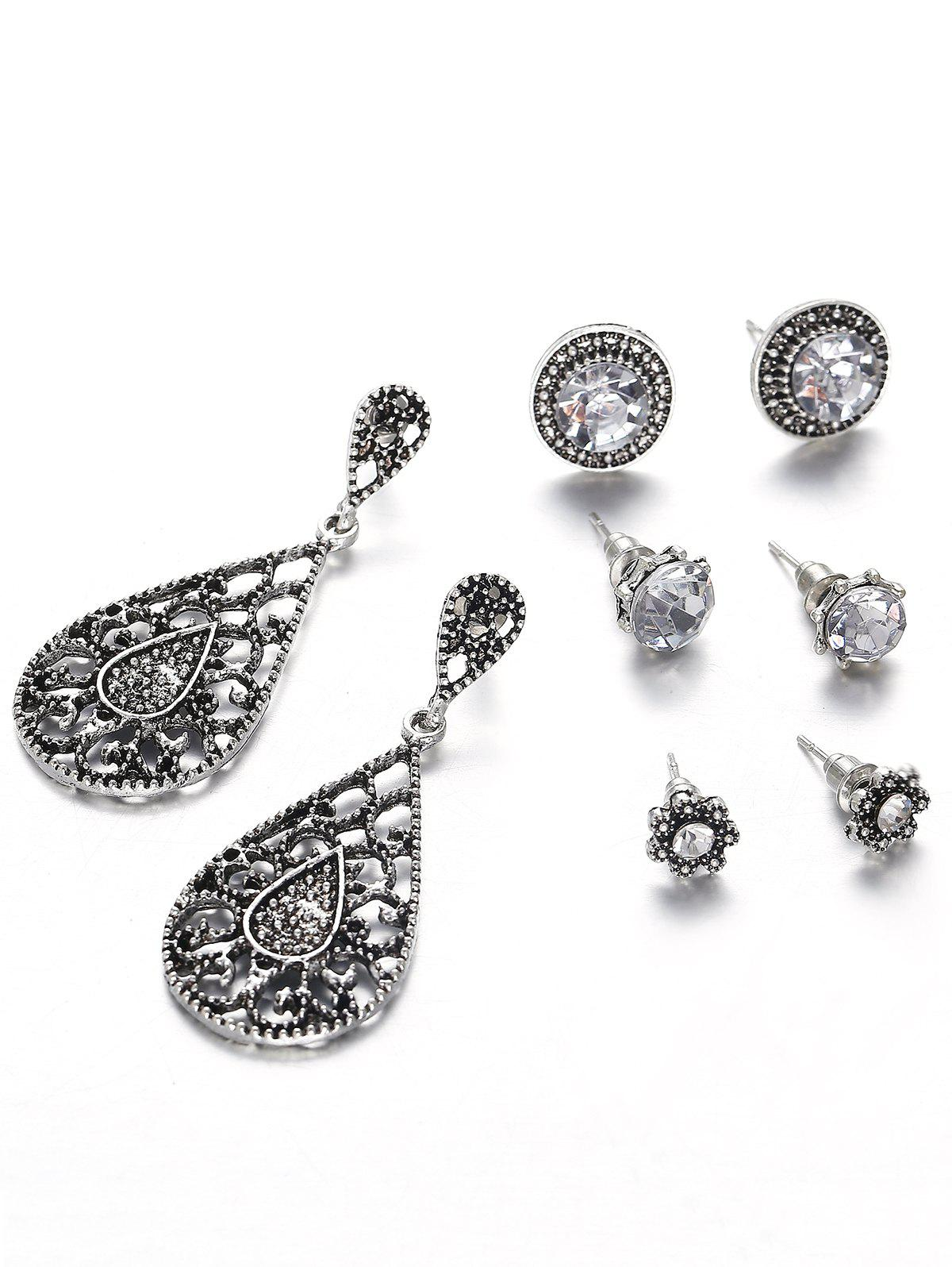 Outfits Hollow Out Water Drop Flora Earrings Set
