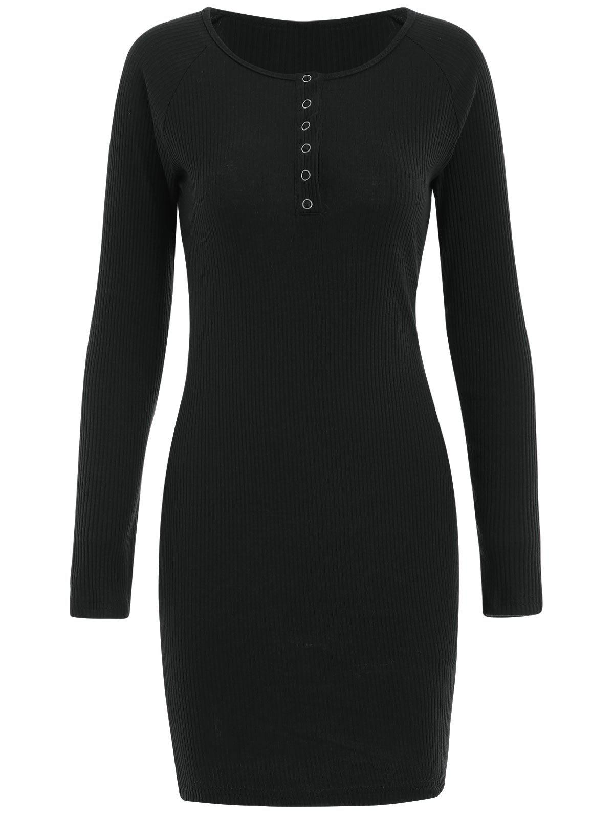 Sale Snap Button Bodycon Ribbed Dress