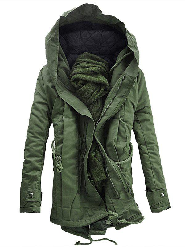 Best Hooded Double Zip Up Padded Parka Coat