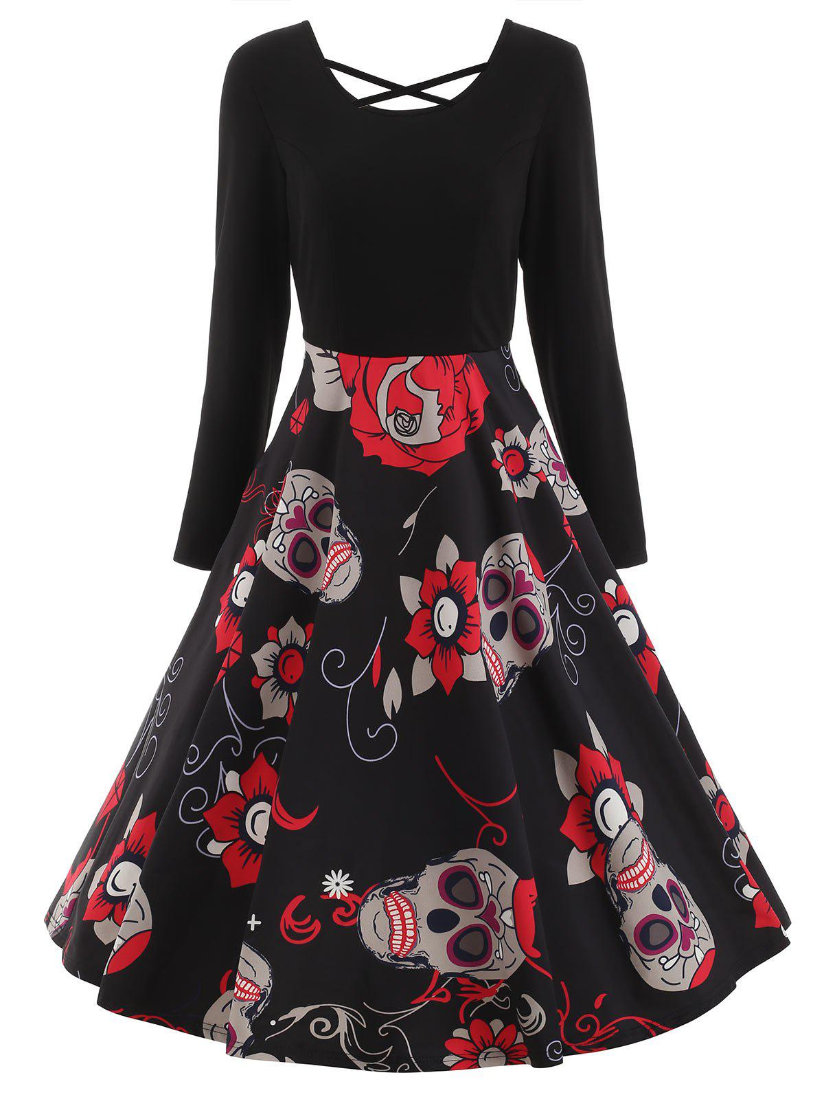 Fashion Long Sleeve Sugar Skull Print Dress