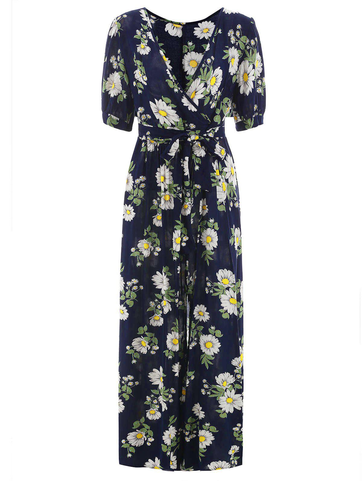 Cheap Half Sleeve Floral Print Maxi Surplice Dress