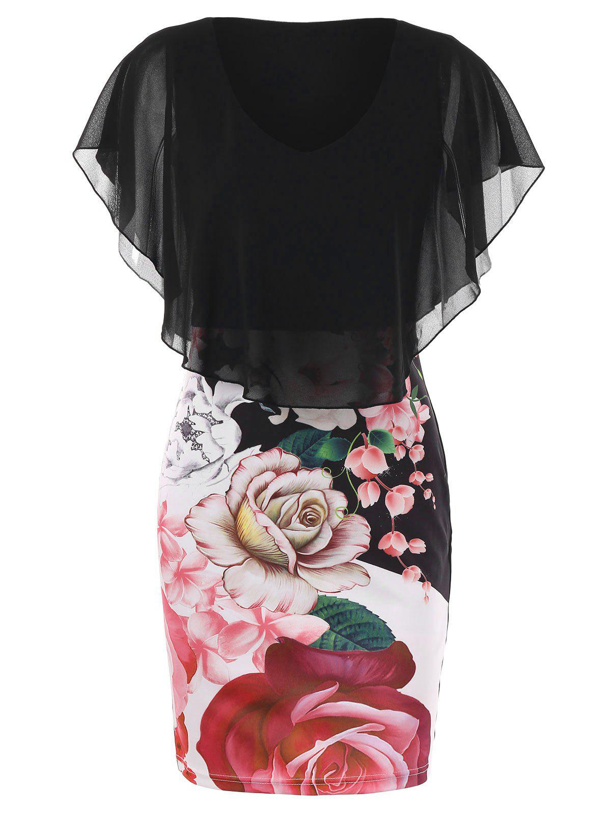 Affordable Floral Print Bodycon Capelet Dress