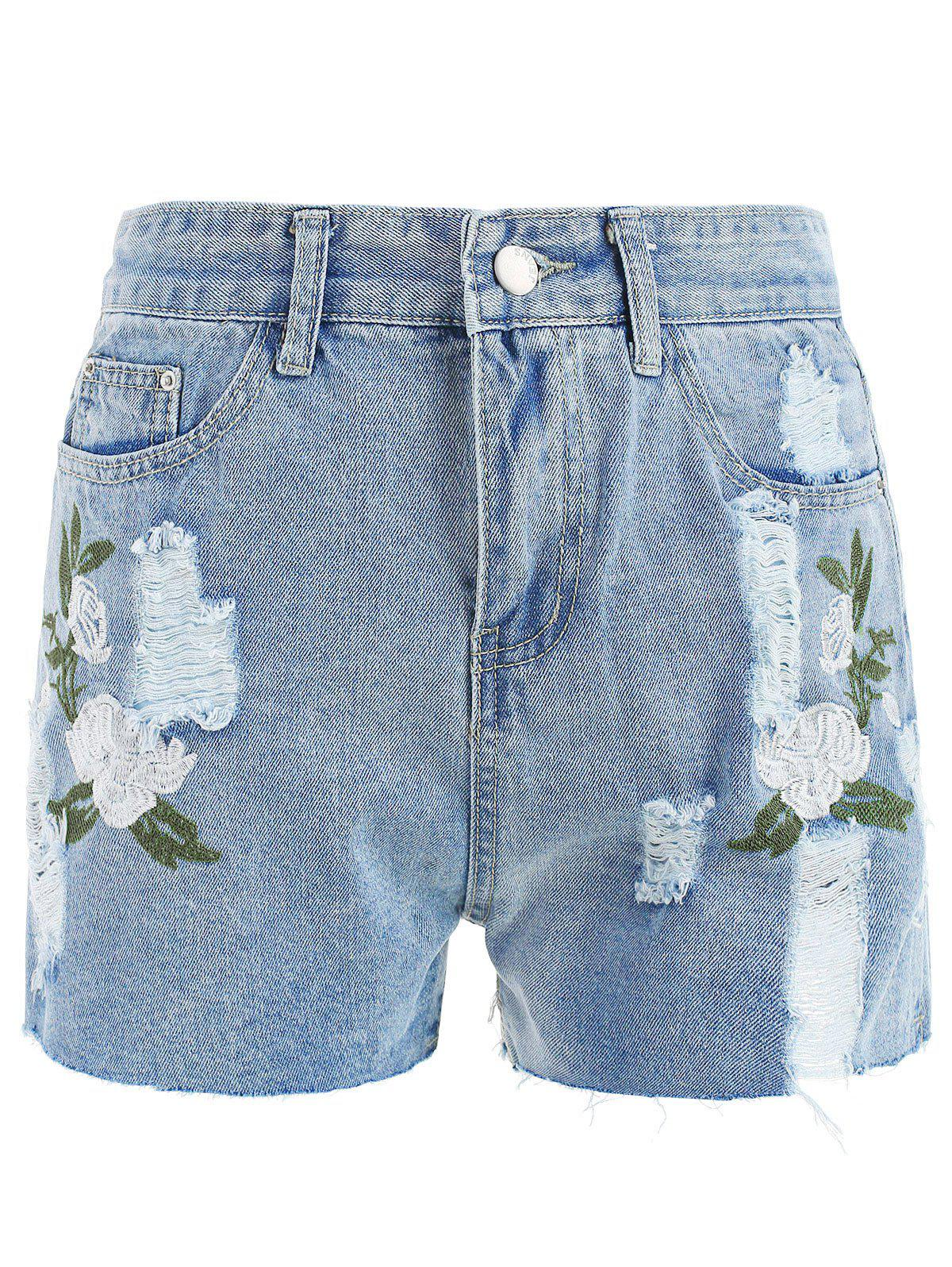 New Floral Embroidery Mini Denim shorts