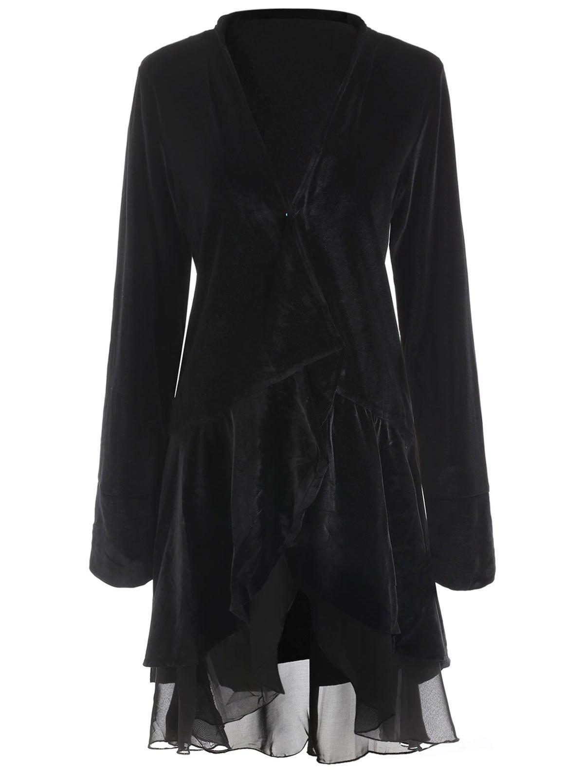 Outfit Stylish Long Sleeve Swingy Velvet Women's Coat