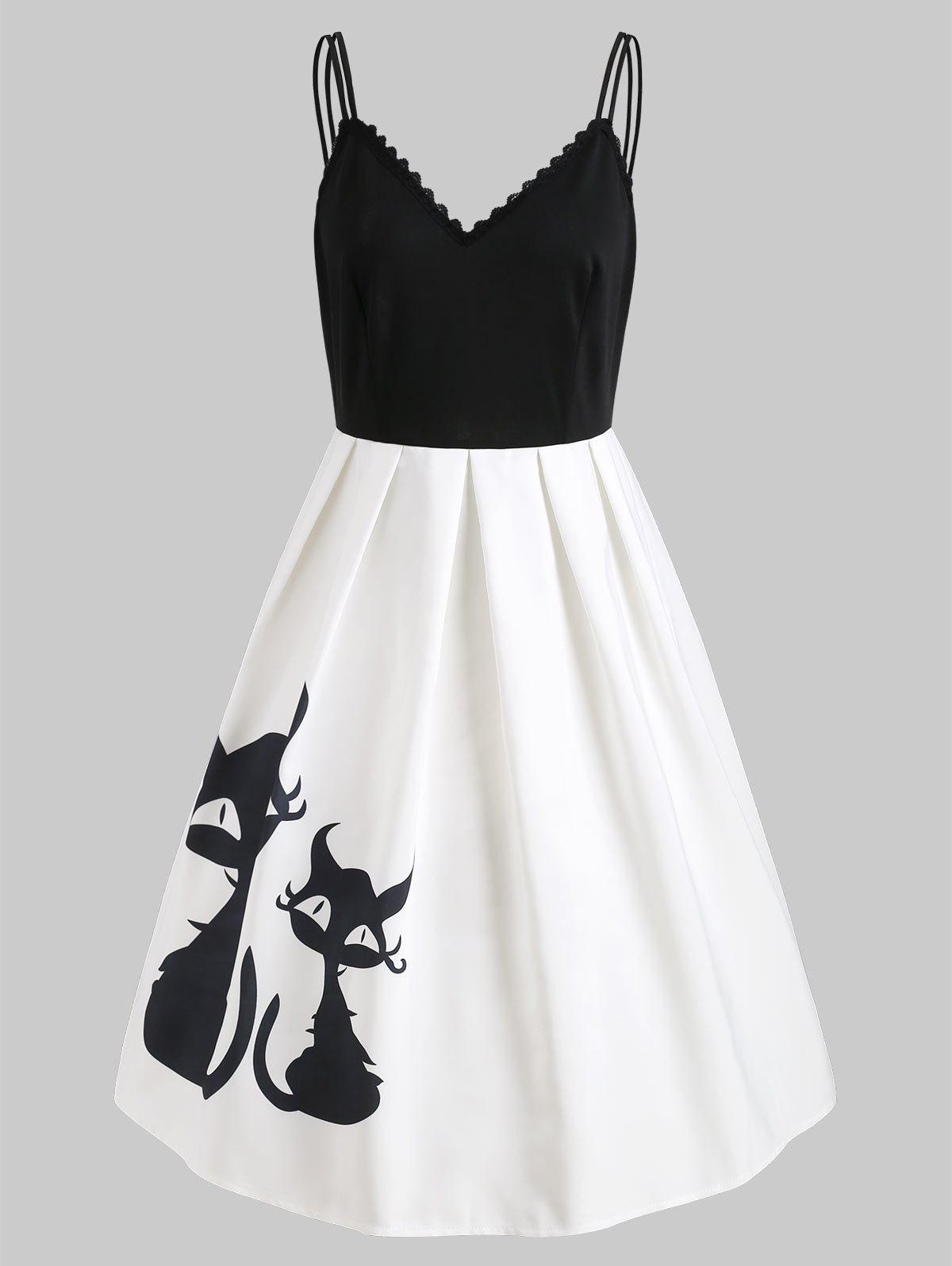 Trendy Black Cats Print Cami Straps Vintage Dress