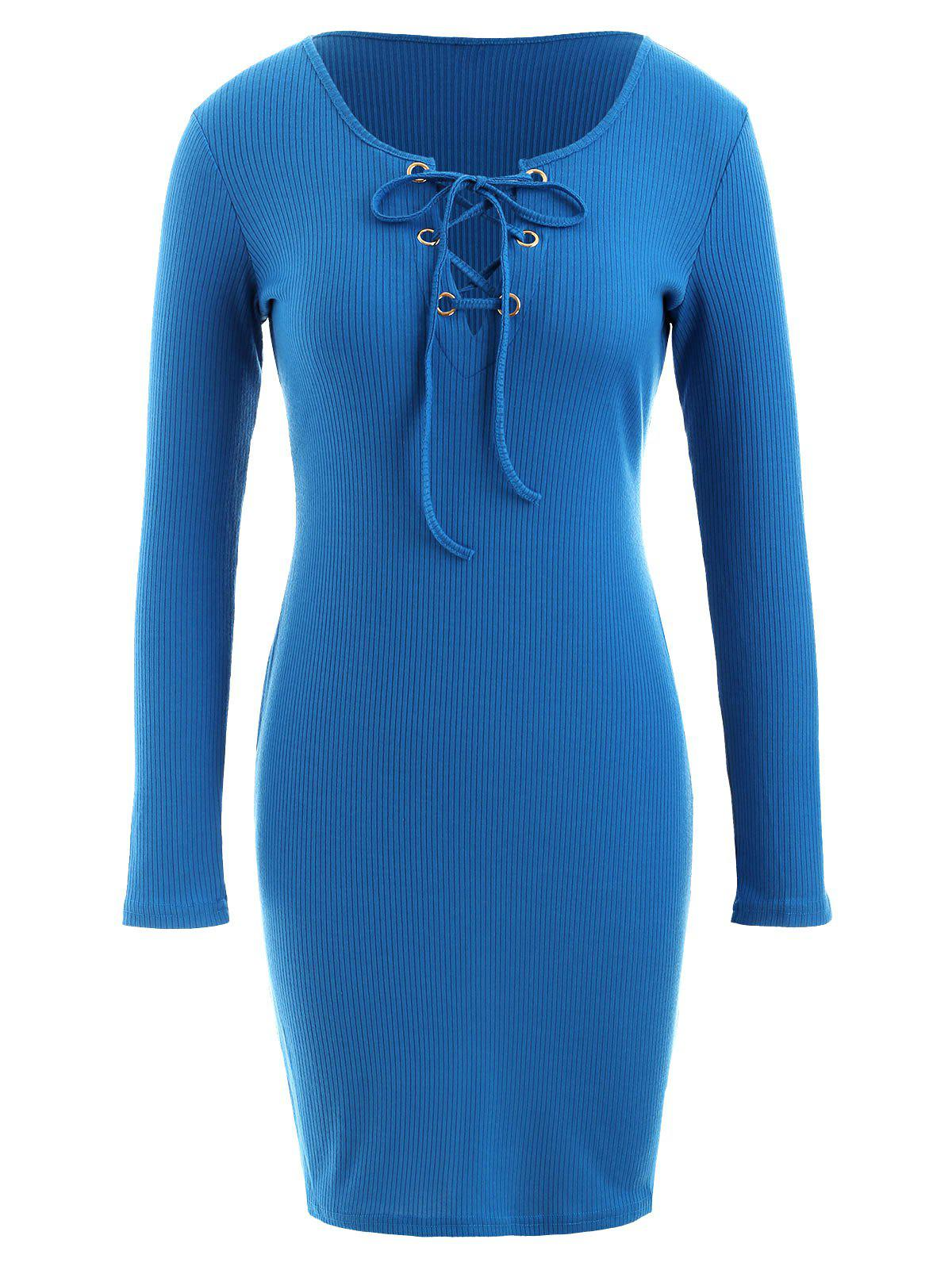 New Long Sleeve Lace-up Ribbed Dress