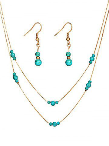 Vintage Faux Turquoise Beaded Necklace Earrings Set