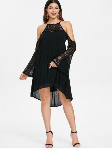 Lace Sleeve Open Shoulder Shift Dress