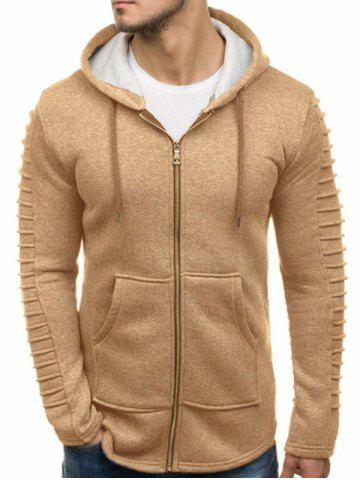 Solid Color Sleeve Pleated Pocket Full Zipper Fleece Hoodie