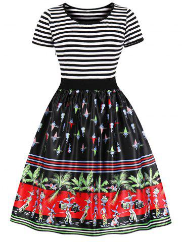 Vintage Striped Palm Print Swing Dress