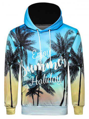 Letter Coconut Palm Printed Casual Hoodie