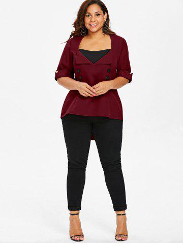 Plus Size Color Block Lace Up Top, Red wine