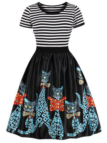 Retro Striped Cat Print Swing Dress