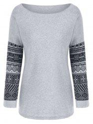 Casual Scoop Neck Geometric Print Spliced Thick Sweatshirt For Women -