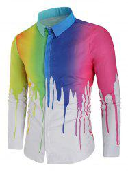 Rainbow Paint Slim Fit Shirt -