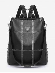 Quilted PU Leather School Backpack -