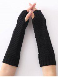 Unique Fishbone Pattern Crochet Knitted Gloves -