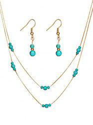 Vintage Faux Turquoise Beaded Necklace Earrings Set -