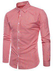 Striped Print Button Up Slim Fit Shirt -