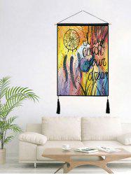 Dream Catcher Print Tasseled Wooden Scroll Hanging Painting -