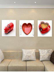Unframed Love Heart Printed Canvas Paintings -