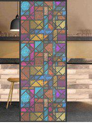 Frosted Colorful Geometric Glass Sticker for Window Bathroom -