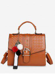 Buckle PU Leather Tote Bag with Strap -