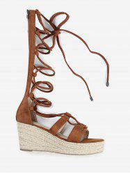 ZAFUL Wedge Heel Strappy Gladiator Mid Calf Sandals -