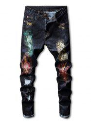 Zip Fly Ripped Colorful Paint Jeans -