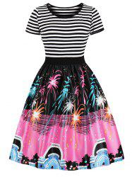 Vintage Stripe Fireworks Print Swing Dress -