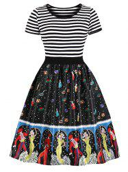 Stripe Printed Pin Up Dress -