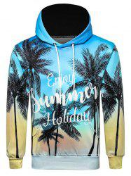 Letter Coconut Palm Printed Casual Hoodie -