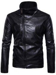 Oblique Zipper Closure Stand Collar Faux Leather Jacket -