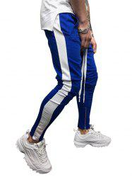 Two Tones Side Striped Patch Sports Pants -