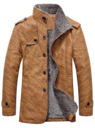 Manteau Col Officier avec Design D'Epaulettes en Simple Boutonnage -
