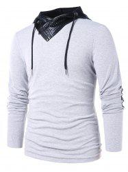 PU Leather Panel Long Sleeve Hoodie -