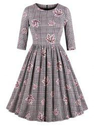 Vintage Maple Leaf Plaid Swing Dress -