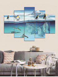 Polar Penguins Printed Split Canvas Paintings -