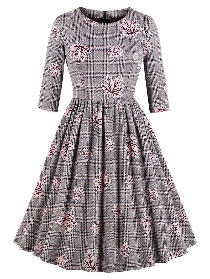 Sale Vintage Maple Leaf Plaid Swing Dress