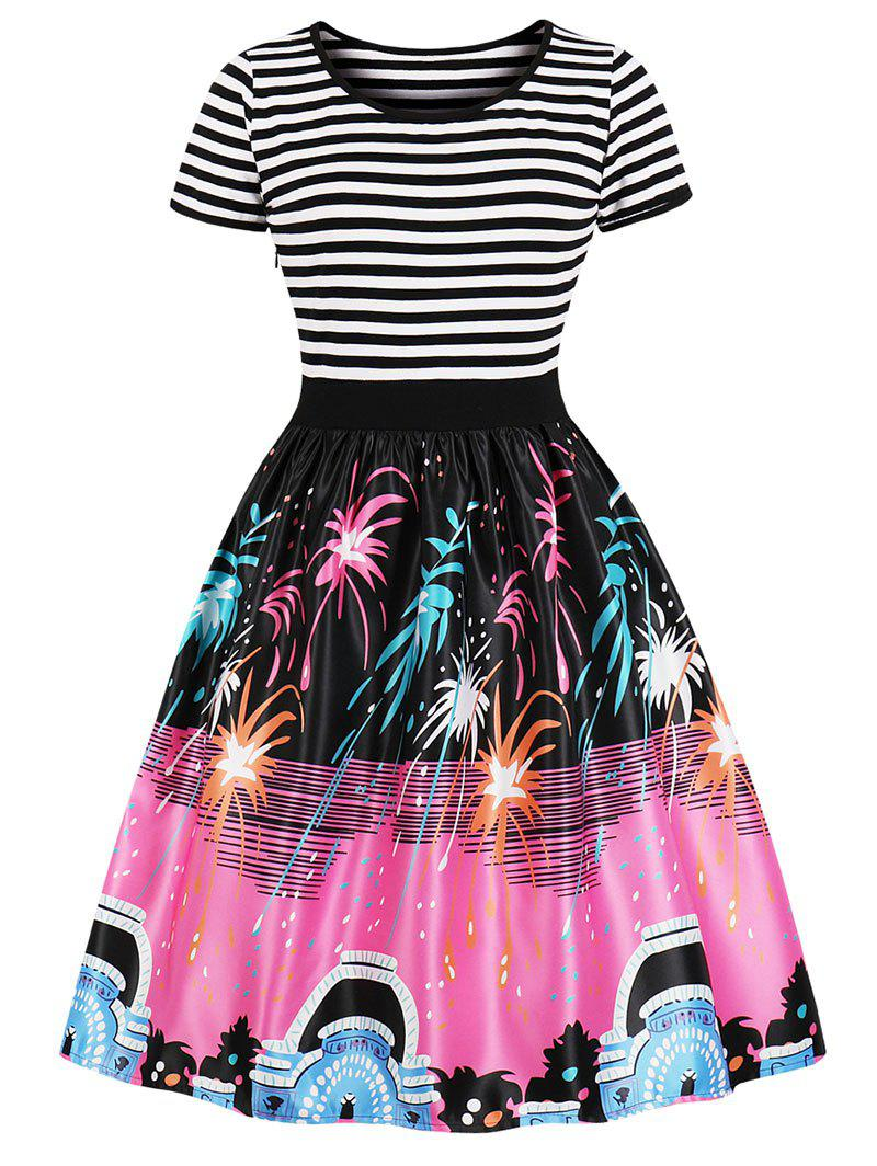 Fashion Vintage Stripe Fireworks Print Swing Dress