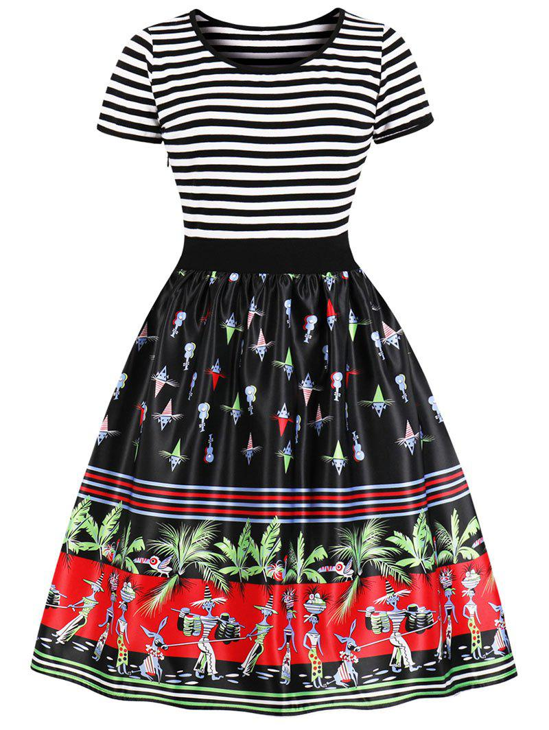 Outfits Vintage Striped Palm Print Swing Dress