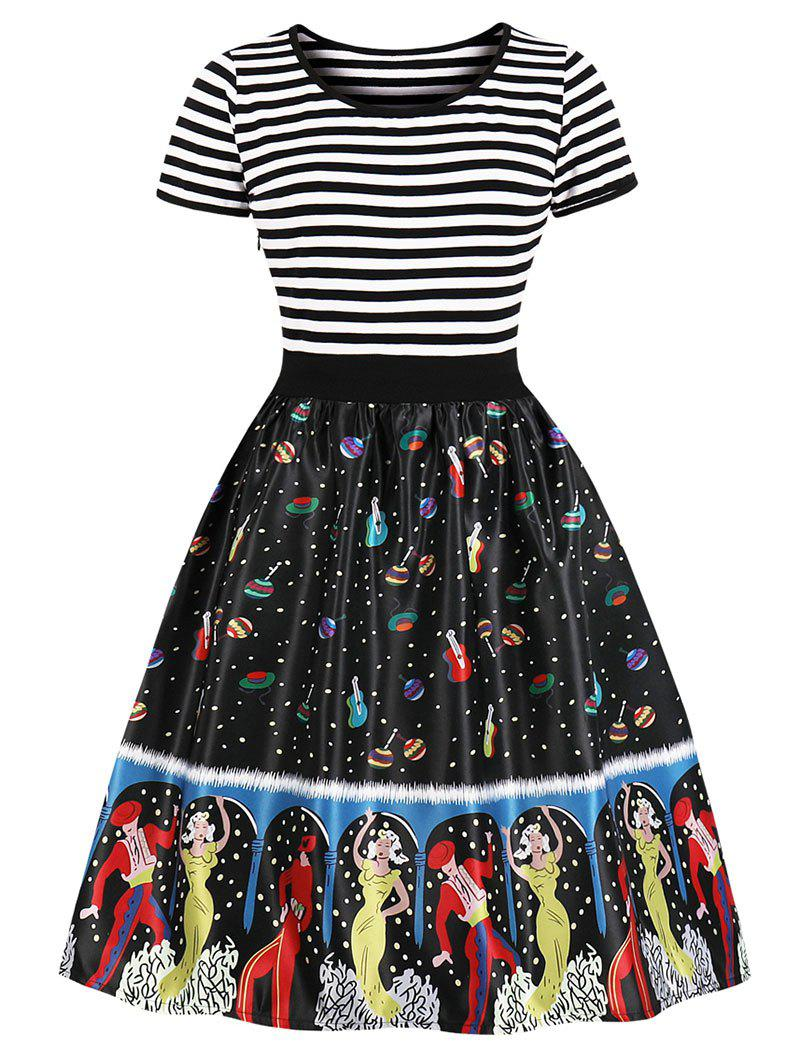 Online Stripe Printed Pin Up Dress