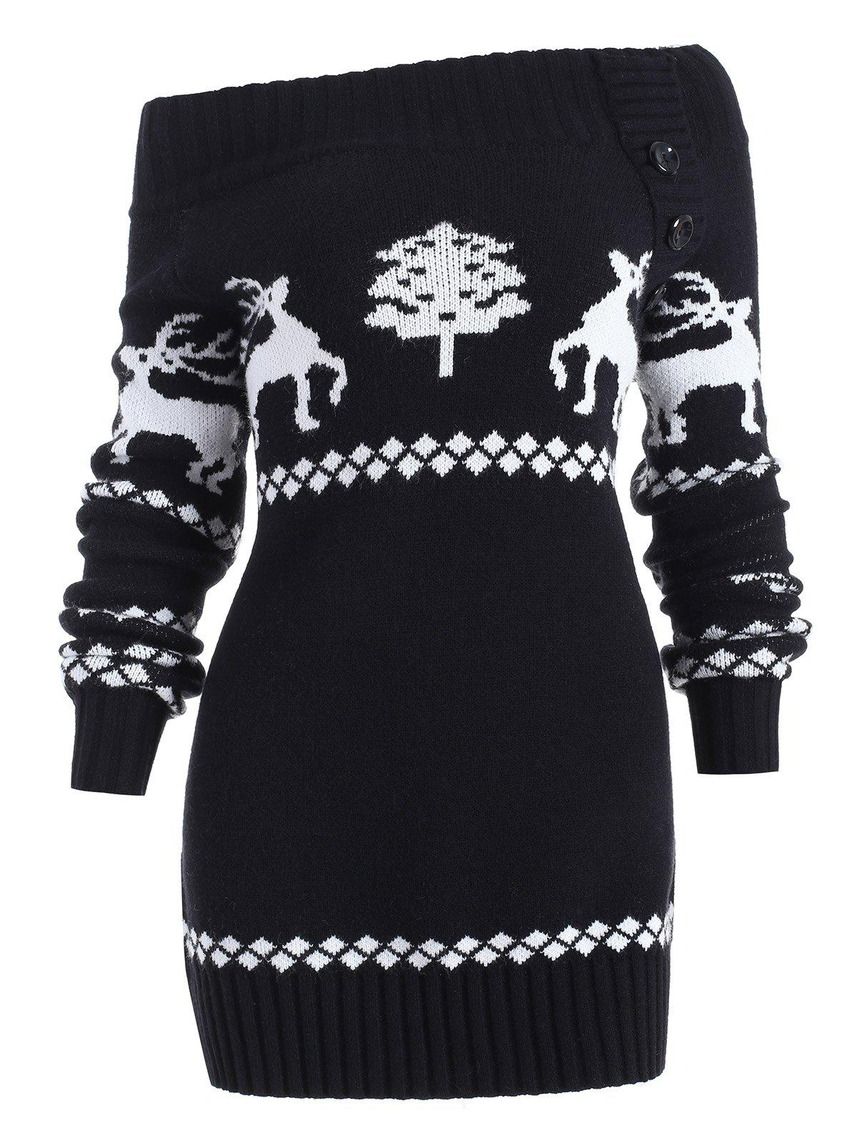 Chic Reindeer Off The Shoulder Knit Tunic Sweater