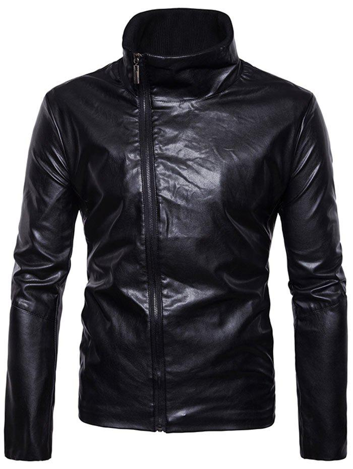 Chic Oblique Zipper Closure Stand Collar Faux Leather Jacket
